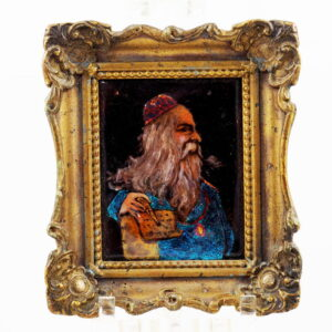 Antique Judaica Miniature Portrait Rabbi